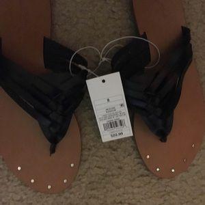 Fancy braided black Flip flops